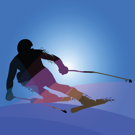 Alpine Skiing Silhouette isolated on blue background. Vector illustrations