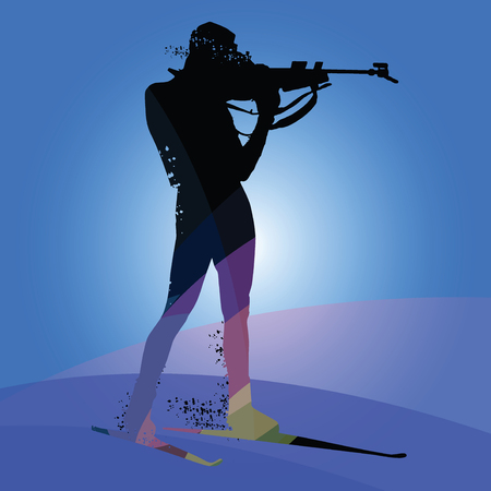 Biathlon racing, skier silhouette isolated on blue background. Vector illustrations Vectores