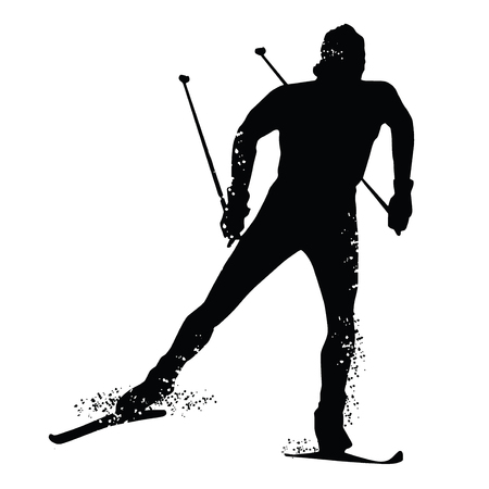 Silhouette cross country skiing isolated on white background. Vector illustrations Stock Illustratie
