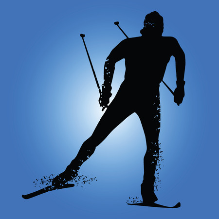 Silhouette cross country skiing isolated on blue background. Vector illustrations