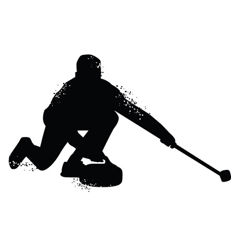 Curling player silhouette isolated on white background. Vector illustrations Illustration