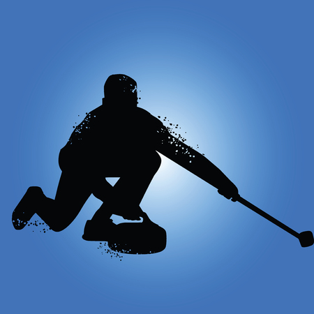 Curling player silhouette isolated on blue background. Vector illustrations
