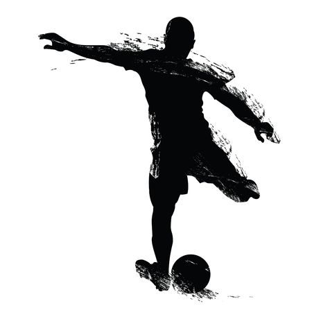 Vector soccer player silhouette. Player shooting. Isolated on white background. Çizim
