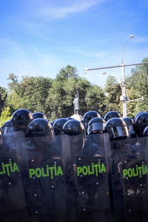 CHISINAU, MOLDOVA - September 26, 2018: Police in full uniform during the protests on the streets of Chisinau