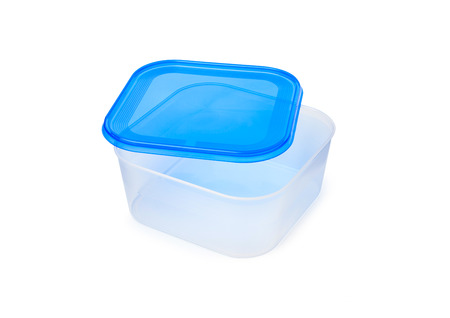 Plastic food storage containers on a white background. With clipping path. Imagens