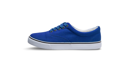 Blue canvas shoes isolated on white background with clipping path