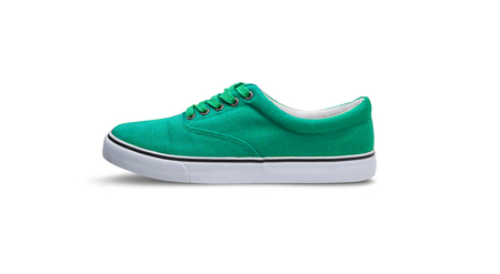 Green canvas shoes isolated on white background with clipping path