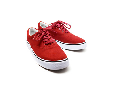 A pair of Red canvas shoes isolated on white background with clipping path