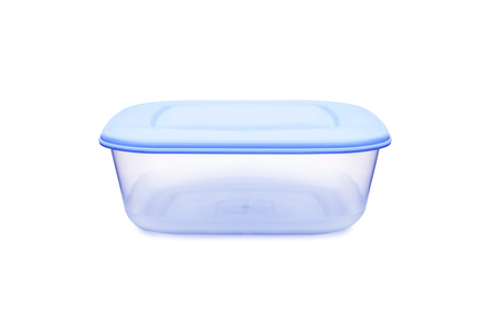 Plastic food storage containers on a white background. With clipping path. 写真素材
