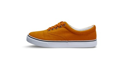 Orange canvas shoes isolated on white background with clipping path