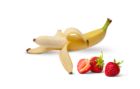 Half peeled Banana, Open Banana and strawberries isolated on a white background Banque d'images - 124903312
