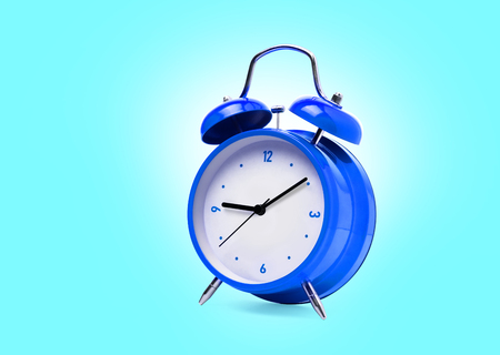 Blue alarm clock isolated on white background. With clipping path