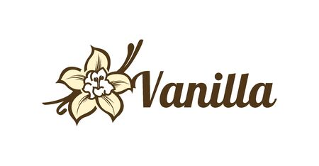 Vector design template logo and emblem vanilla. Food icon. Logos in linear style isolated on a white background. Illustration Vector.