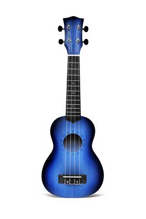 Die blaue Ukulele-Gitarre auf dem weißen Hintergrund isoliert