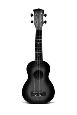 The black ukulele guitar isolated on the white background Imagens