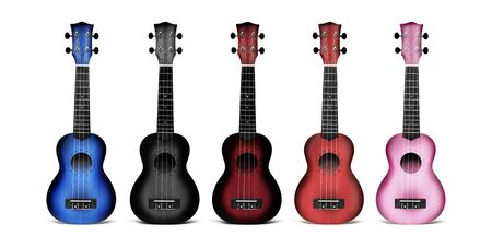Ukulele guitars of different colors blue, black, dark red, pink. Isolated, close-up on white background