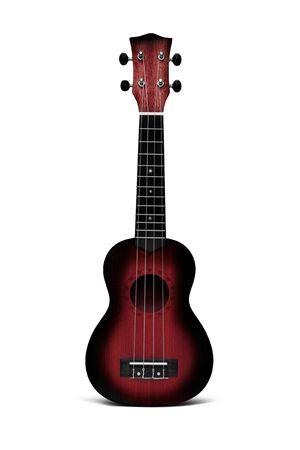 The dark red ukulele guitar isolated on the white background
