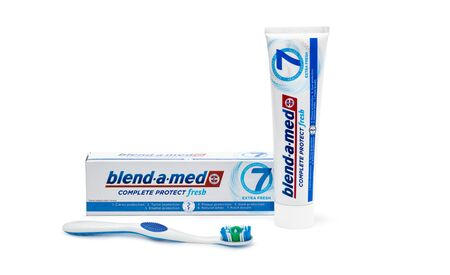 Chisinau, Moldova - October 20, 2019. Blend-A-Med toothpaste and Toothbrush,  made by Procter & Gamble. Isolated on white background