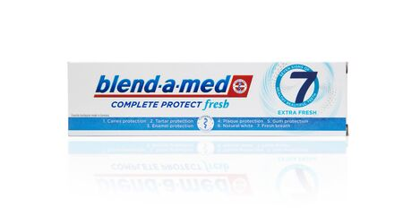 Chisinau, Moldova - October 19, 2019. Blend-A-Med toothpaste,  Extra Fresh,  made by Procter & Gamble. Isolated on white background Editorial