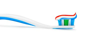 Toothpaste toothbrush isolated on white background.
