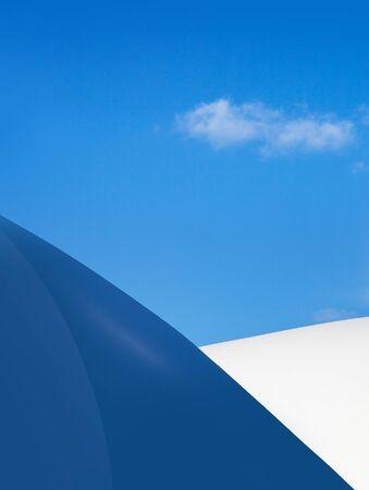Modern fragment on a construction building, against blue sky