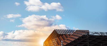 CHISINAU, MOLDOVA - November 30, 2019: Modern building. Stadium arena Chisinau city, building design, construction. The design of the architecture. Sunny day, blue sky
