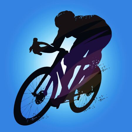 Silhouette of a cyclist male on white background. Vector illustrations.