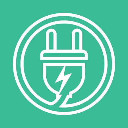 Electrical plug . Template charging point logotype. Vector illustration. Icon sign. Vectores
