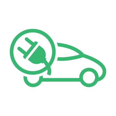 Electric car with plug icon symbol. Green hybrid vehicles charging point logotype. Eco friendly vehicle concept. Vector illustration. Icon sign.