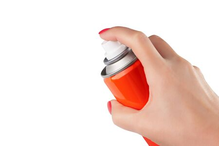 Red spray can isolated on white background on woman hand, Aerosol Spray Can, Metal Bottle Paint Can Realistic photo image. With clipping path Imagens