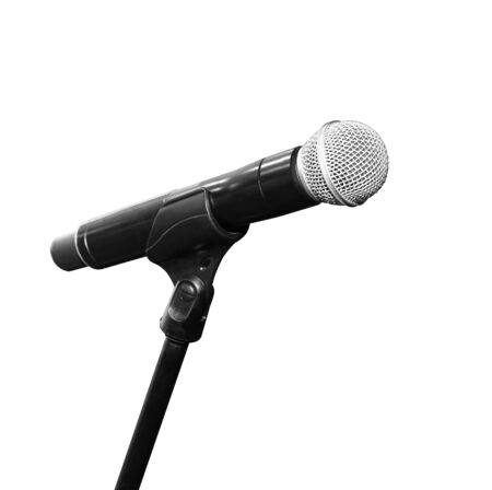 Microphone on stand isolated on white background. With clipping path