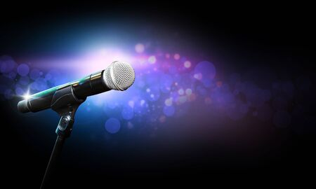 Microphone On Stage With Bokeh Light. Blurred concept