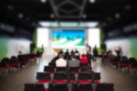 Blurred images of office staff are training to increase skills, work in the training room. Blurred concept Imagens