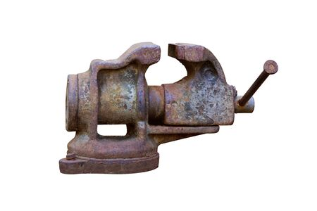 Old rusty bench vise isolated on white background. With clipping path Imagens