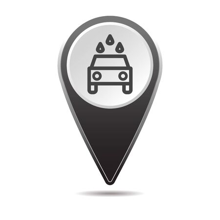 Geolocation map pin car wash icon. Vector icon with shadow. Vector EPS 10