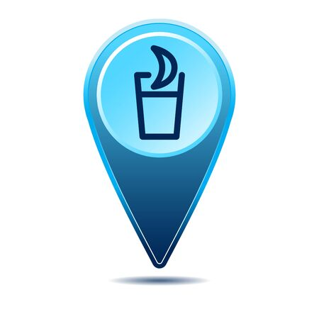 Geolocation map pin bar restaurant icon. Vector icon with shadow. Vector EPS 10