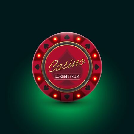Casino Poker Chip With Luminous Light Elements Dark Green Background Stock Photo Picture And Royalty Free Image Image 141085663