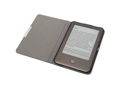 E-book on tablet pc touchpad isolated on white background. With clipping path