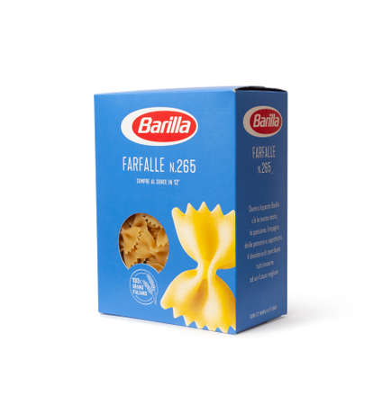 CHISINAU, MOLDOVA - April 1, 2020: Barilla Farfalle Nr 265. Italian pasta in a box isolated on white background. Barilla is an Italian food company, founded in 1877 in Parma, Italy.