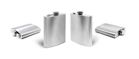 Stainless hip flask to use alcohol complect isolated on white background