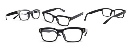 Black eye glasses Isolated on white background. Collection of eyeglasses with clipping path
