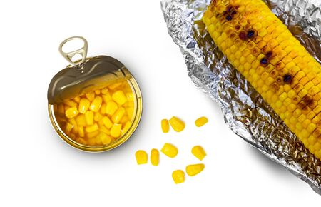 Sweet corn in a tin can and grilled corn in aluminum foil on a white background. Top view.