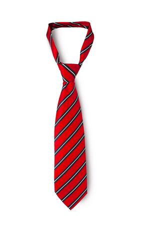 Red men's striped tie taken off for leisure time, isolated on white