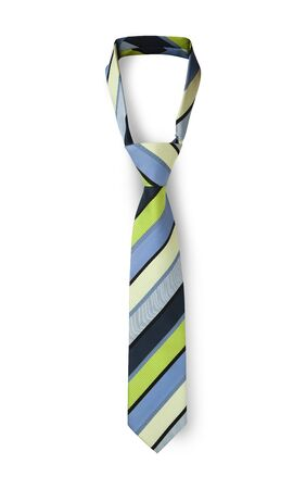 Men's striped tie in different colors taken off for leisure time, isolated on white Banque d'images