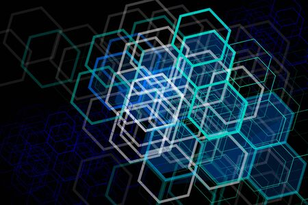 Blue geometric hexagons elements on black background. Poster design, design element.