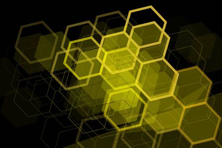 Yellow geometric hexagons elements on black background. Poster design, design element.