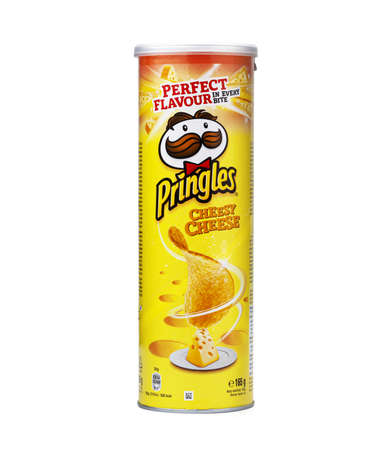 CHISINAU, MOLDOVA - Juny 3, 2020: Pringles potato snack chips cheese tyube pack isolated on white background Éditoriale