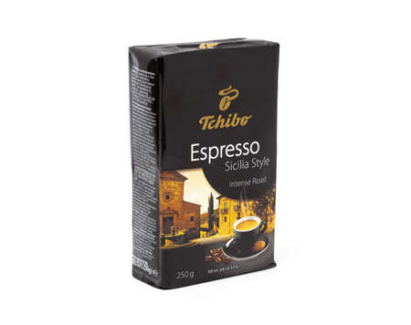 CHISINAU, MOLDOVA - June 3, 2020: Tchibo coffee espresso box isolated on white background. With clipping path