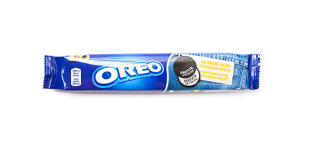 CHISINAU, MOLDOVA - Juny 3, 2020: A package of Nabisco Oreo chocolate sandwich cookies. Isolated on white background
