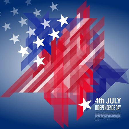 4th of July, American Independence Day. United States national flag abstract geometric vector banner Illustration